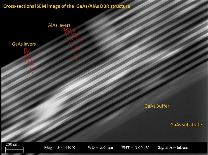 Cross Sectional SEM image of GaAs/AIAs DBR structure